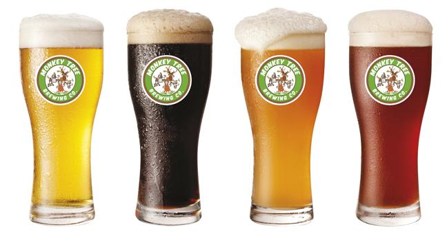 Monkey Tree banded beer glasses