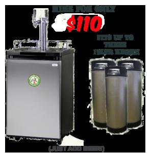 Monkey Tree branded keg fridge and 19 liter kegs
